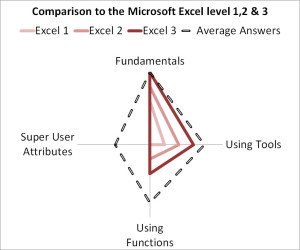 Excel skills assessment comparison of the average visitor to Microsoft Excel skill levels 1,2 and 3