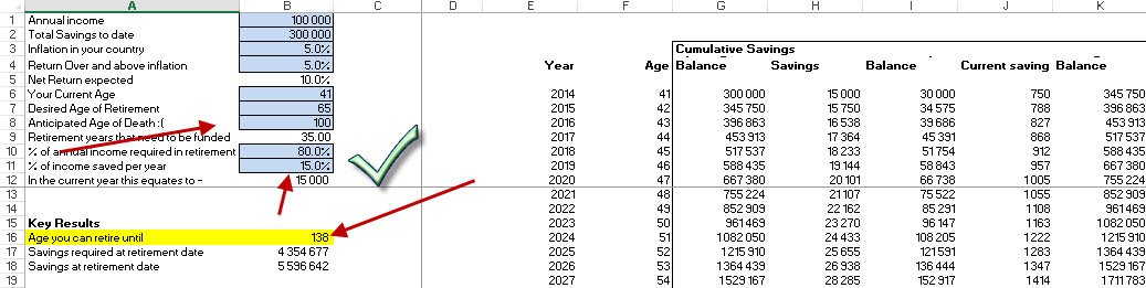 how to create retirement plan in excel