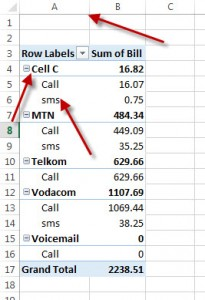 pivot table row labels in separate columns 1