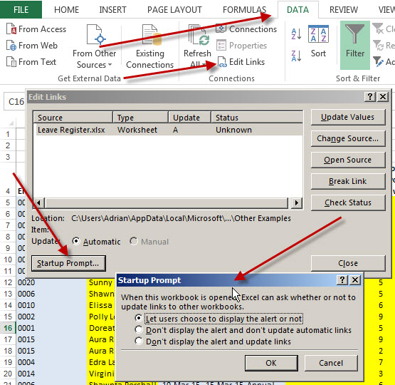 How to stop excel from asking to update links • AuditExcel co za