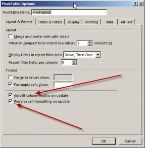 pivot table format changes on refresh