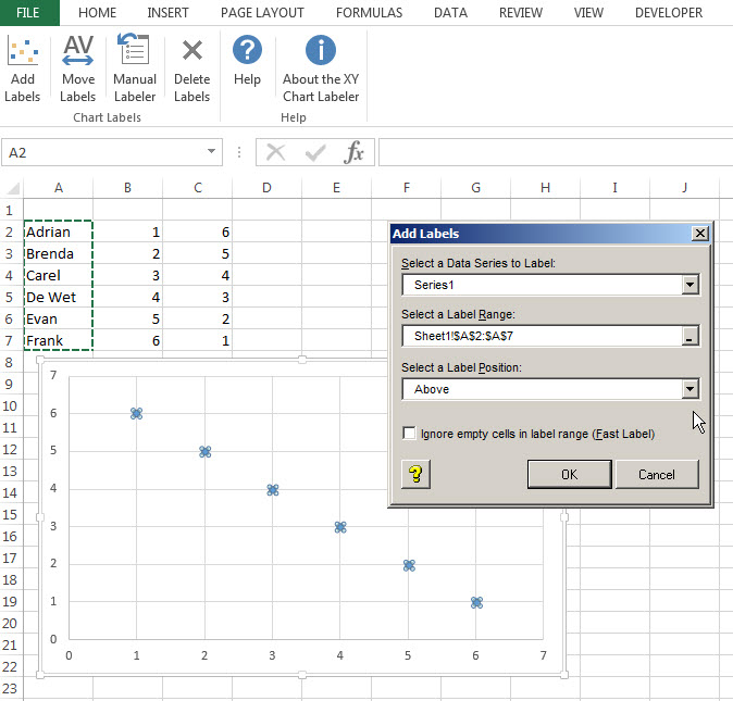 XY Chart Labeler in Excel