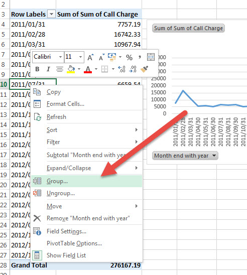 comparing years in excel pivot charts