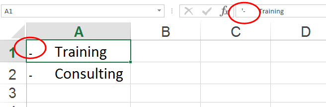 excel bullets in cel
