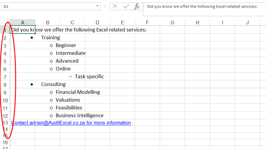 Excel Bullets In Cell Auditexcel Co Za