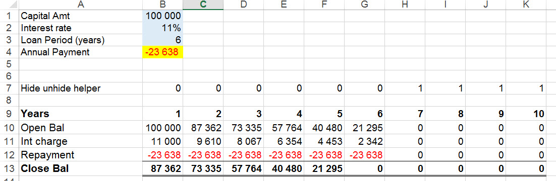 Auto hide/ unhide columns in Excel without VBA