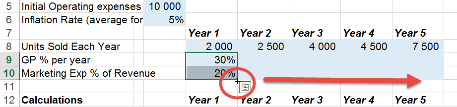 Copy cell to the left in excel