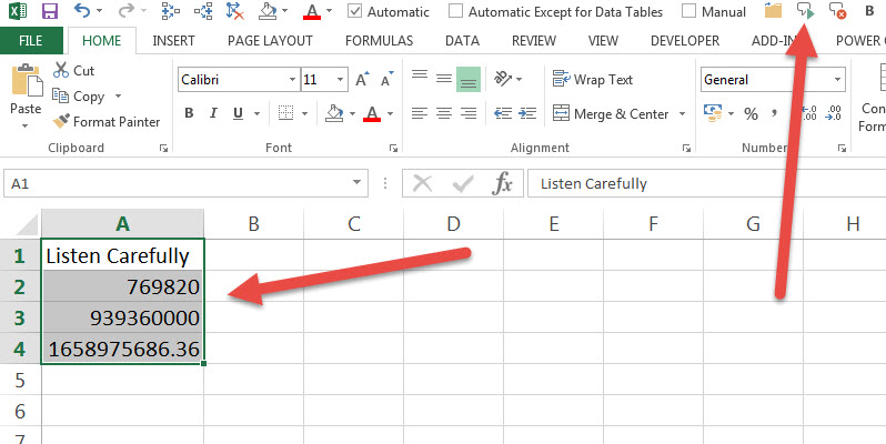 Excel reads large numbers