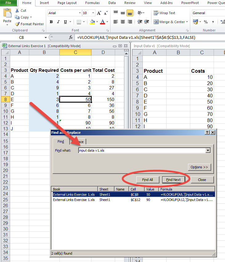 How to find cells with external links in excel