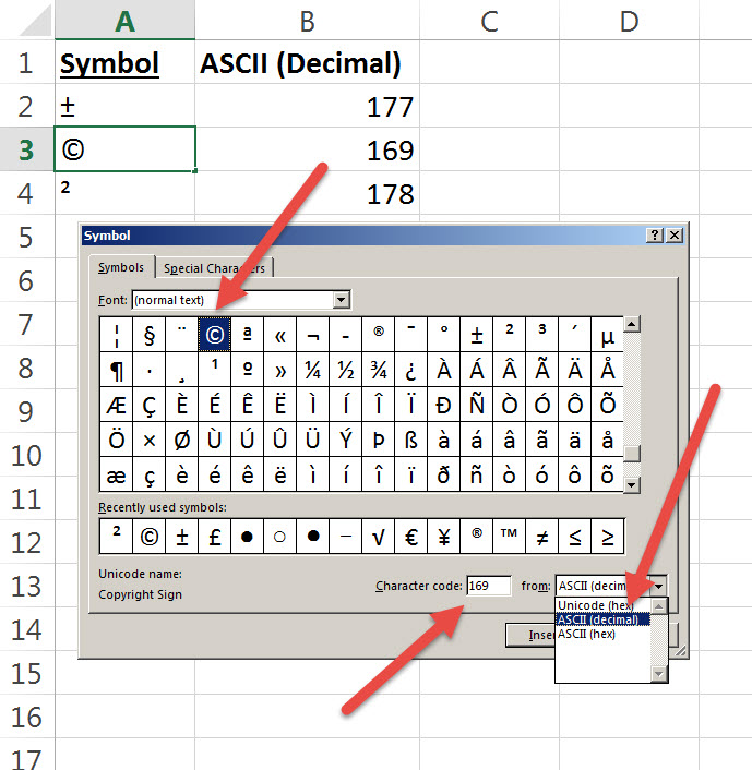 Shortcut To Insert A Symbol In Excel Auditexcel