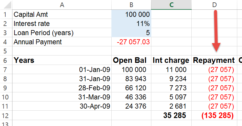 Excel negative numbers in brackets