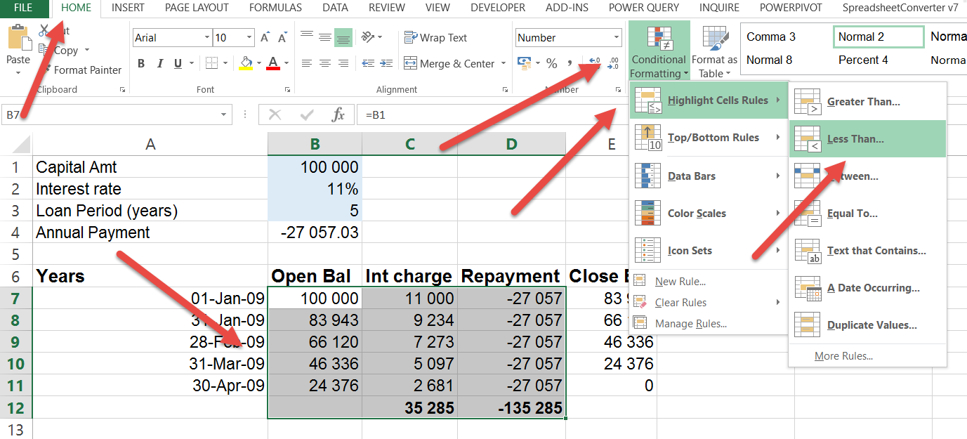 Excel negative numbers in red