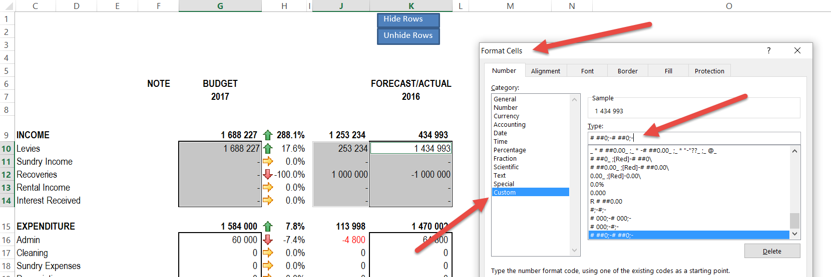 zeros in excel