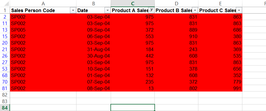 Counting or summing coloured cells in Excel- data filter