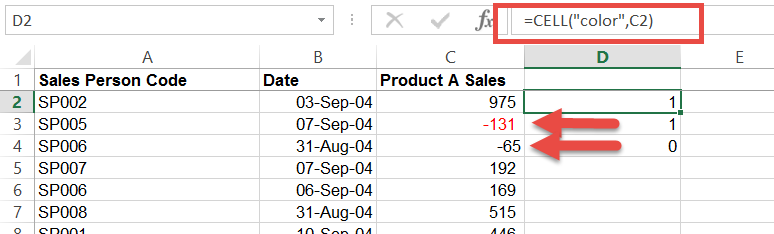 Counting or summing coloured cells in Excel- formula