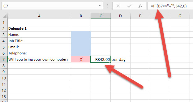 how to put tick in excel