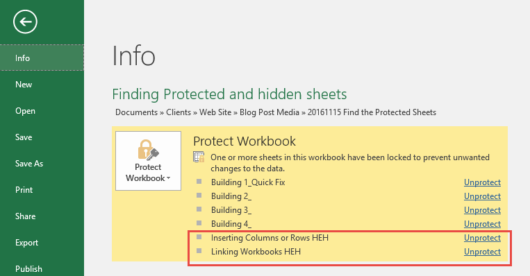 Finding protected sheets in Excel