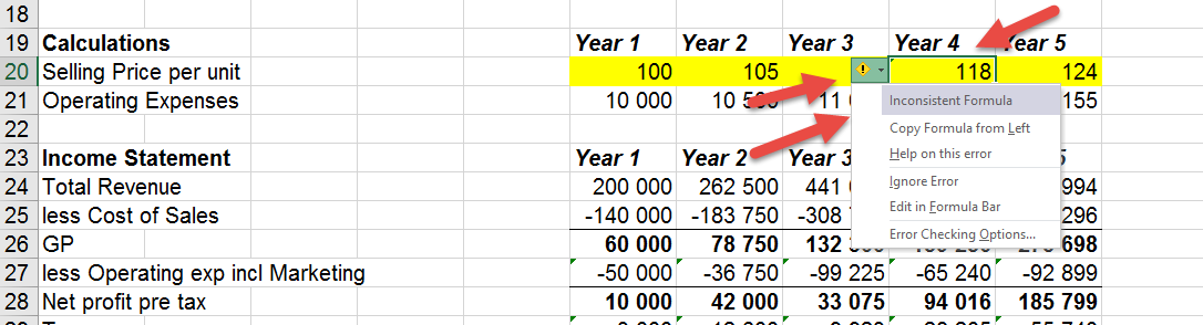 Green triangle in excel cell