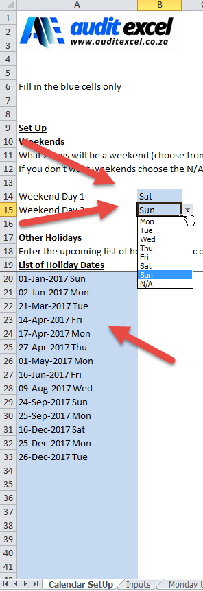 Annual Year Planner in Excel
