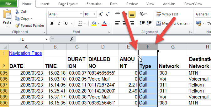 Move and insert an Excel column