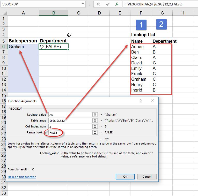 Drop down list then Excel lookup