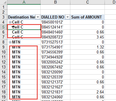 Repeat pivot table row labels