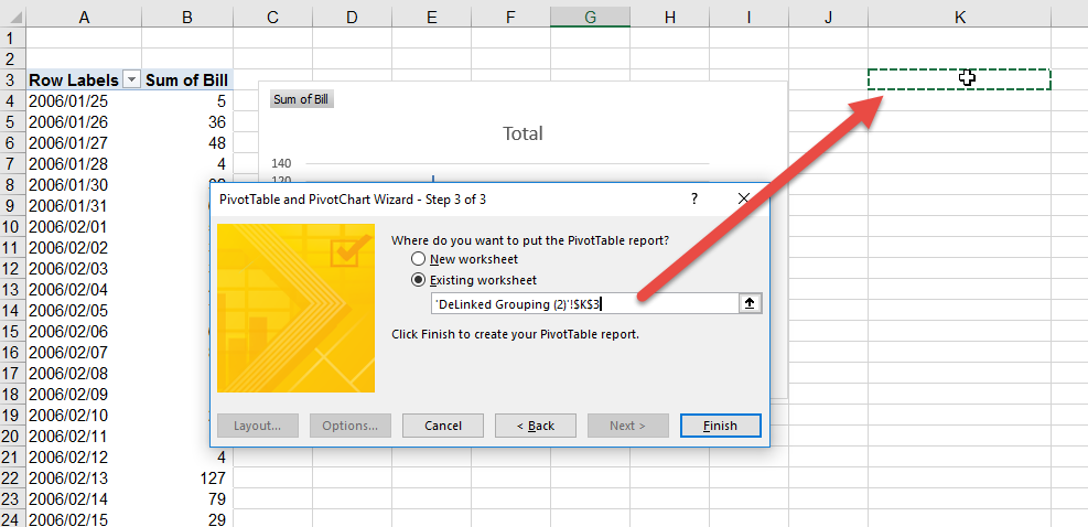 Stop all the pivot tables applying the same grouping method