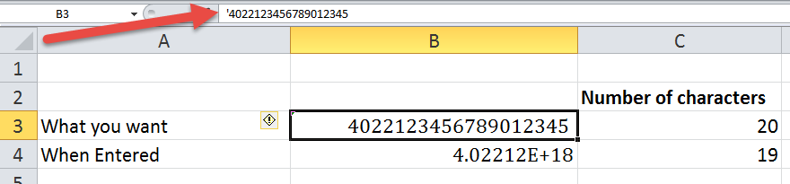entering long numbers in excel