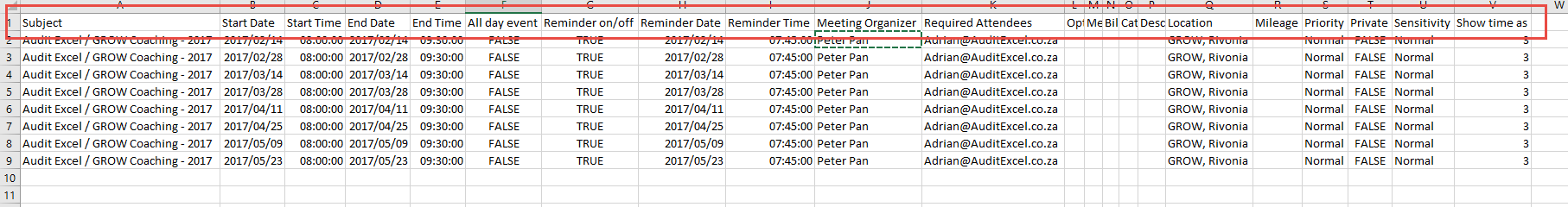 Import Excel appointments into Outlook calendar