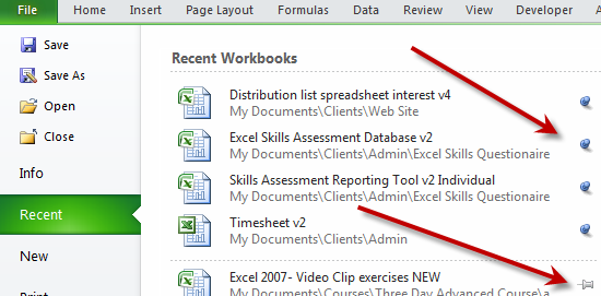 Pin your regularly used excel files