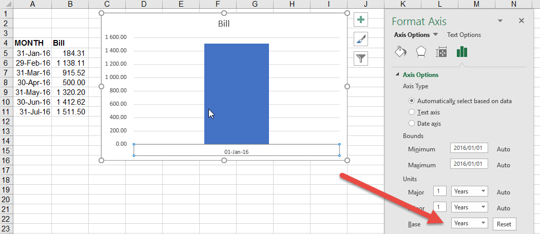 Date Axis in Excel Chart is wrong