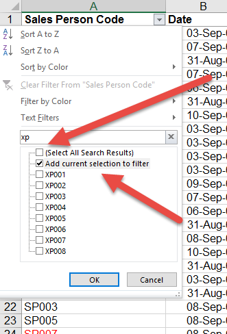 REMOVE current selection from data filter