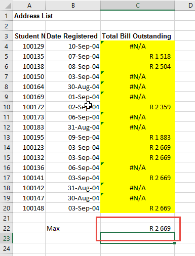 Find the max number ignoring errors in Excel