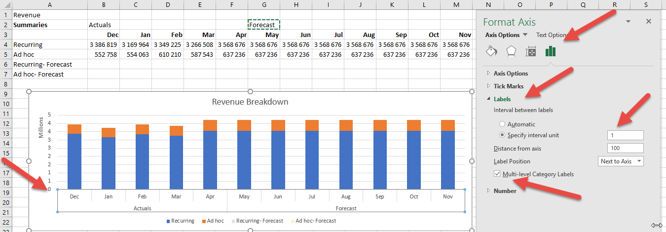 Two level axis in Excel chart not showing