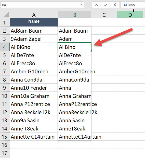 How to remove numbers from text cells in Excel