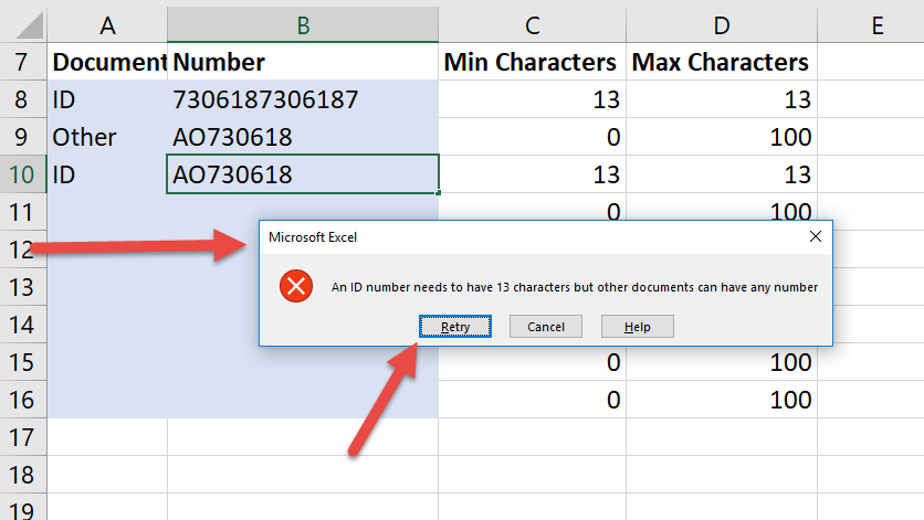 Limit text length in Excel for ID and passport numbers