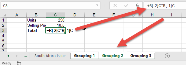excel formula changes to RC reference