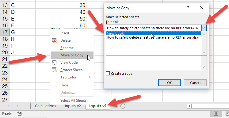 How to safely delete sheets so there are no REF errors
