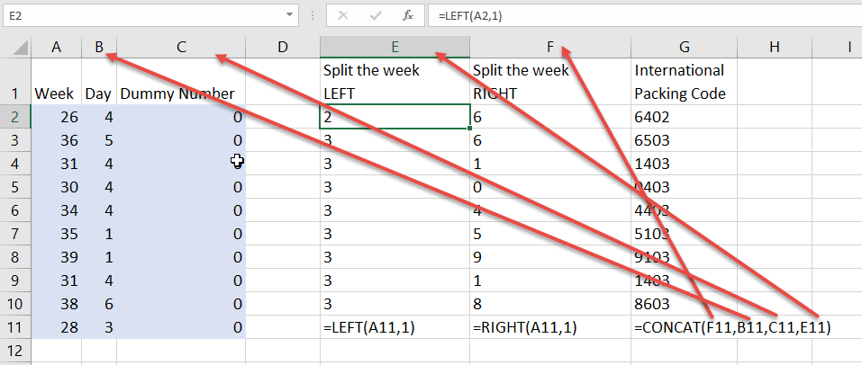 International packing code in Excel