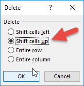 Shift cells up if blank in Excel