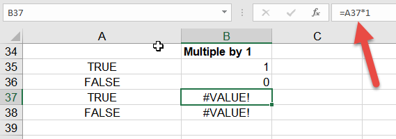 If not working with true false in Excel