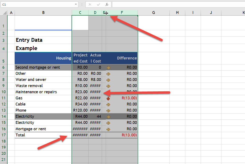 resize all columns to fit text in Excel