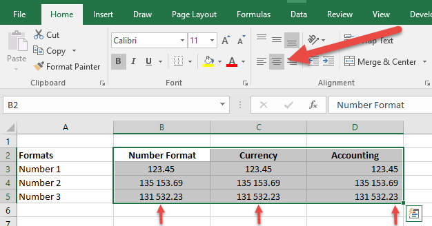excel refuses to align a number left or centre