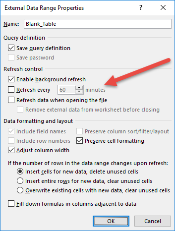 auto refresh Excel every minute