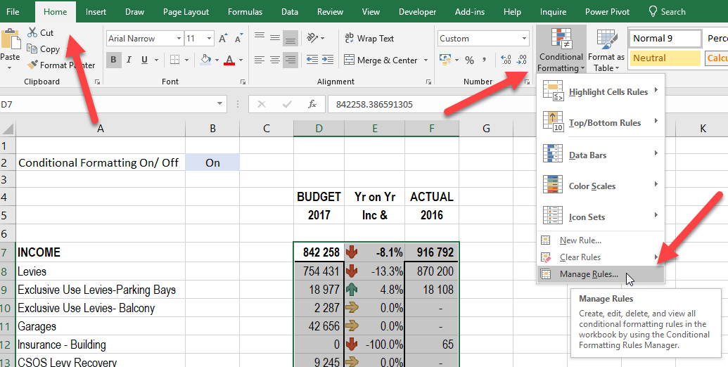 Pause Switch off conditional formatting in MS Excel