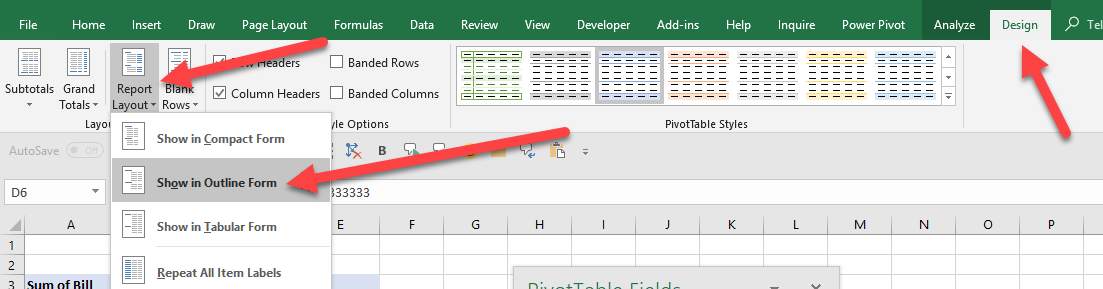 fill the empty labels with the headings in a Pivot Table