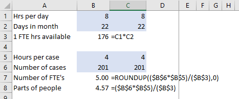 Full time equivalent calculations in Excel