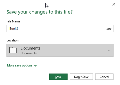 Change Excel Save screen back to original
