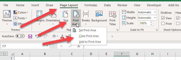 Temporarily disable print areas in Excel
