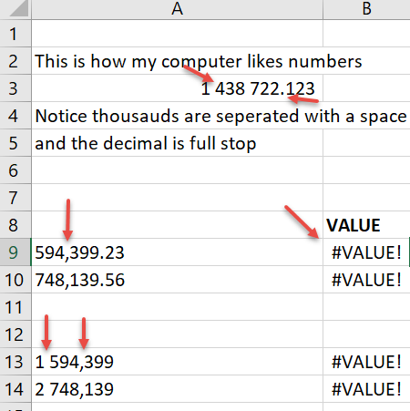 Correcting numbers in Excel with incorrect commas points or spaces